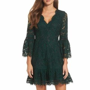 Eliza J Luxury Lace Sexy Green Bell Sleeve Dress